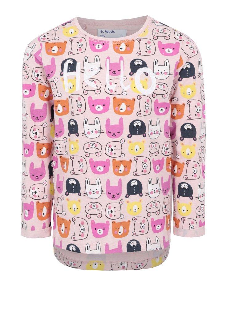 Ružové dievčenské vzorované tričko s dlhým rukávom 5.10.15.