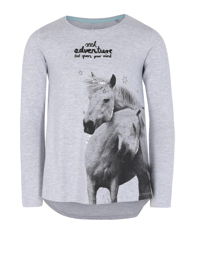 Sivé dievčenské tričko s dlhým rukávom a flitrami 5.10.15