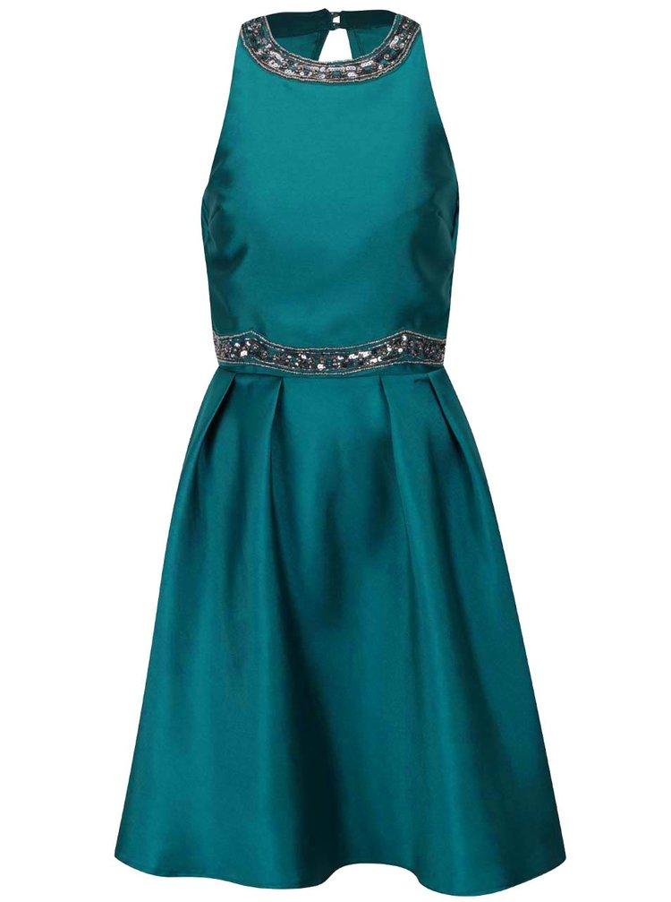 Petrolejové šaty s aplikací Little Mistress