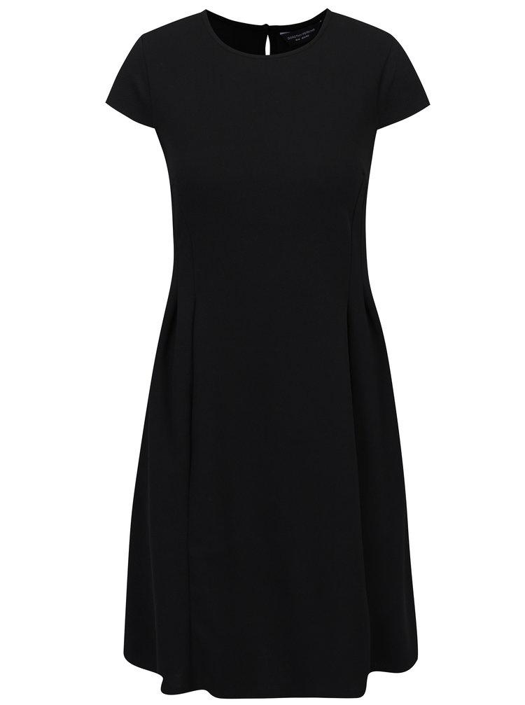 Černé áčkové šaty s řasením Dorothy Perkins