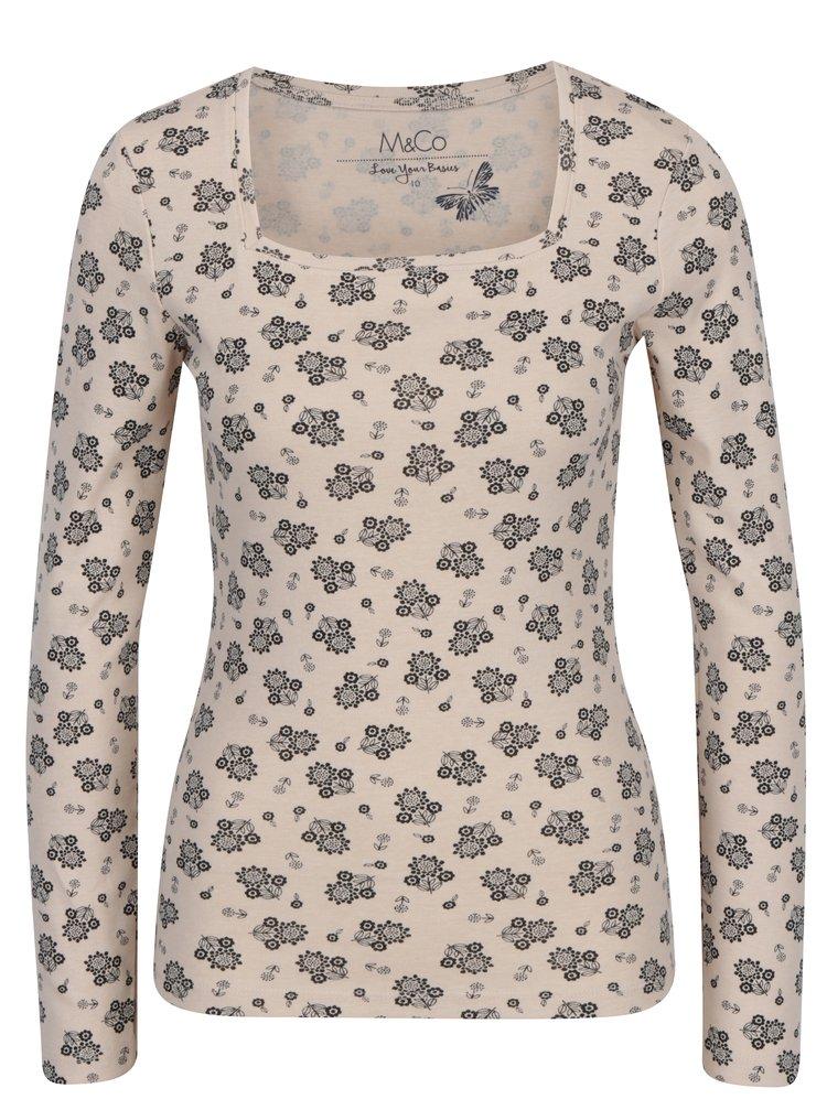 Bluza bej cu print floral si decolteu dreptunghiular M&Co