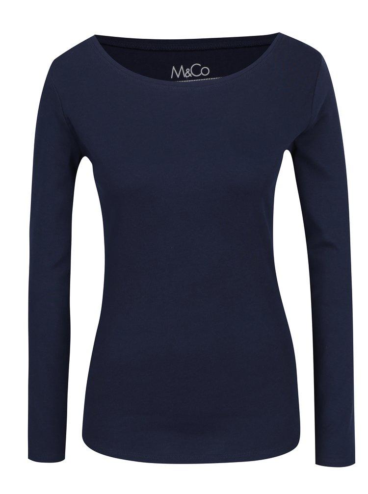 Tmavě modré basic tričko s dlouhým rukávem M&Co