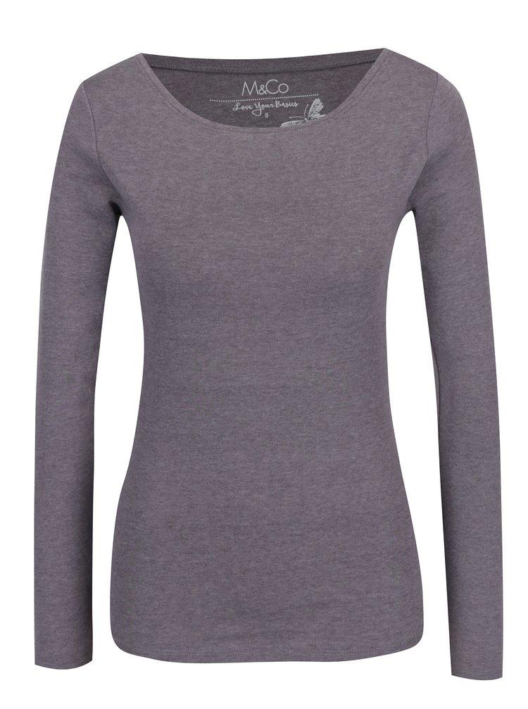 Světle fialové basic tričko s dlouhým rukávem M&Co
