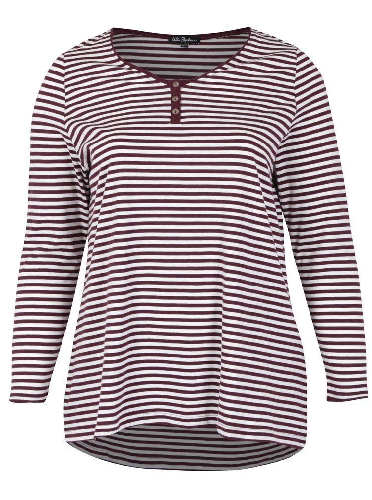 Bílo-vínové pruhované tričko s dlouhým rukávem Ulla Popken