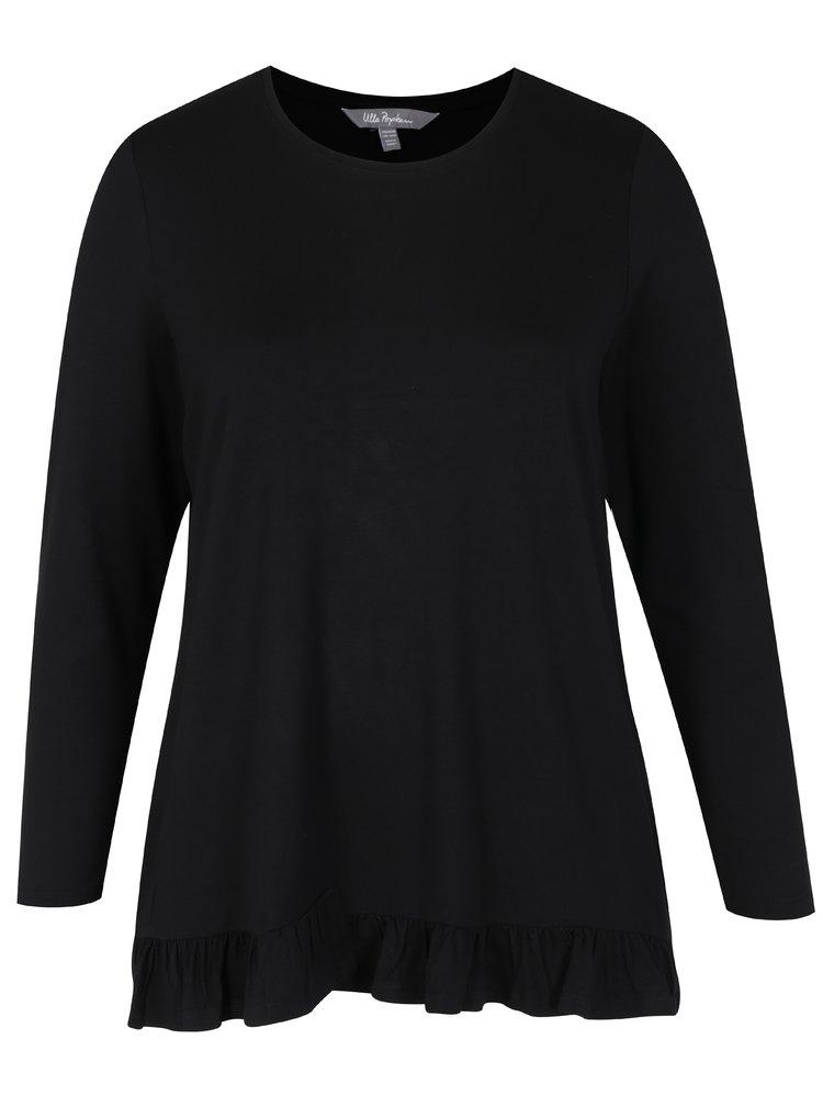 Bluza neagra cu volanase in partea inferioara - Ulla Popken