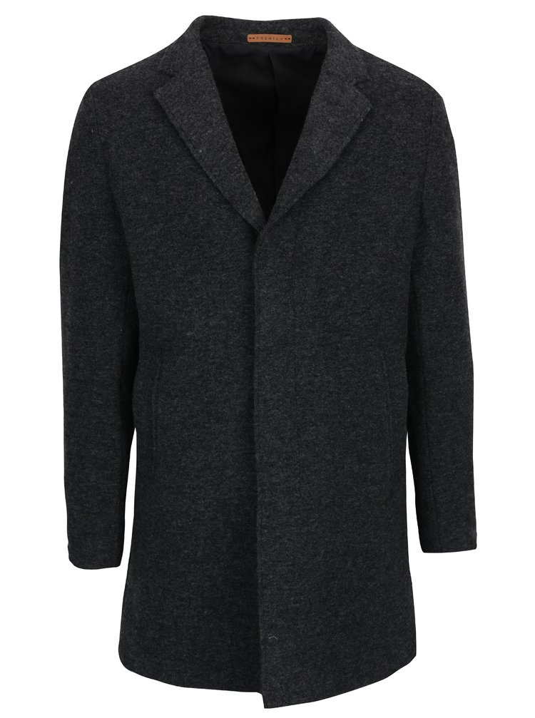 Tmavě šedý vlněný kabát Jack & Jones Premium Marlow
