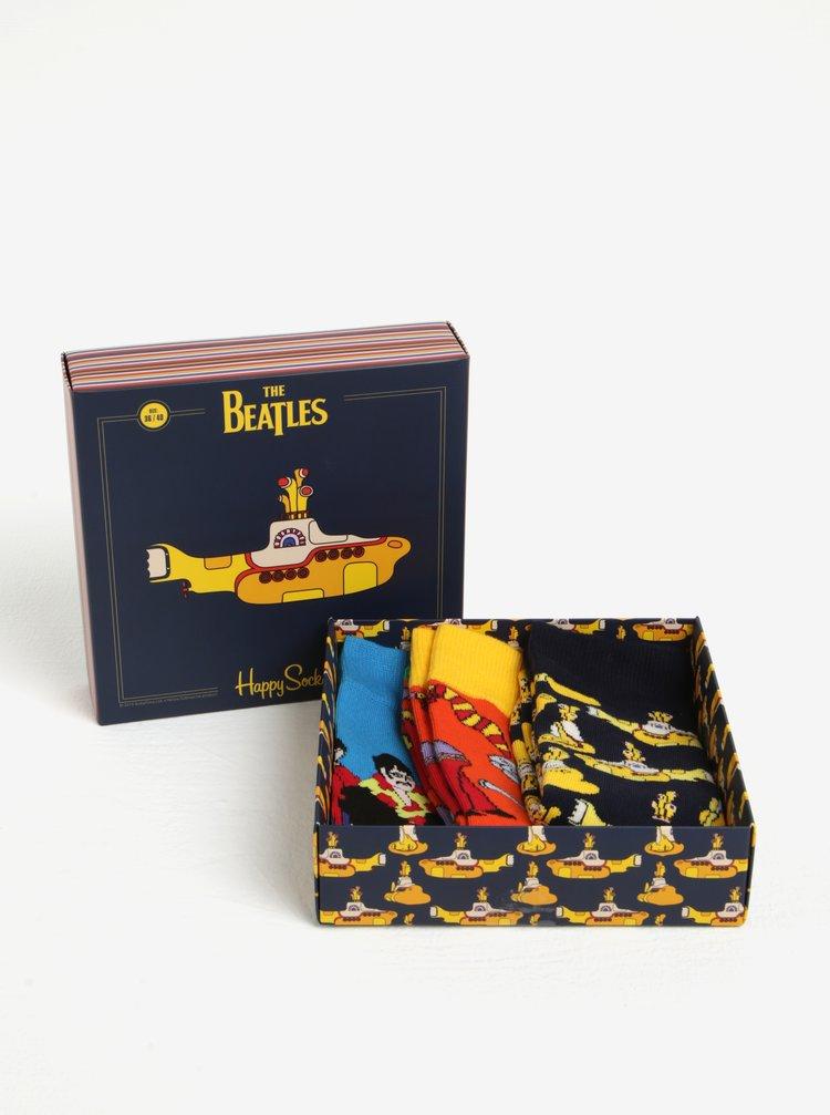 Set de 3 perechi de sosete cu print - Happy Socks The Beatles