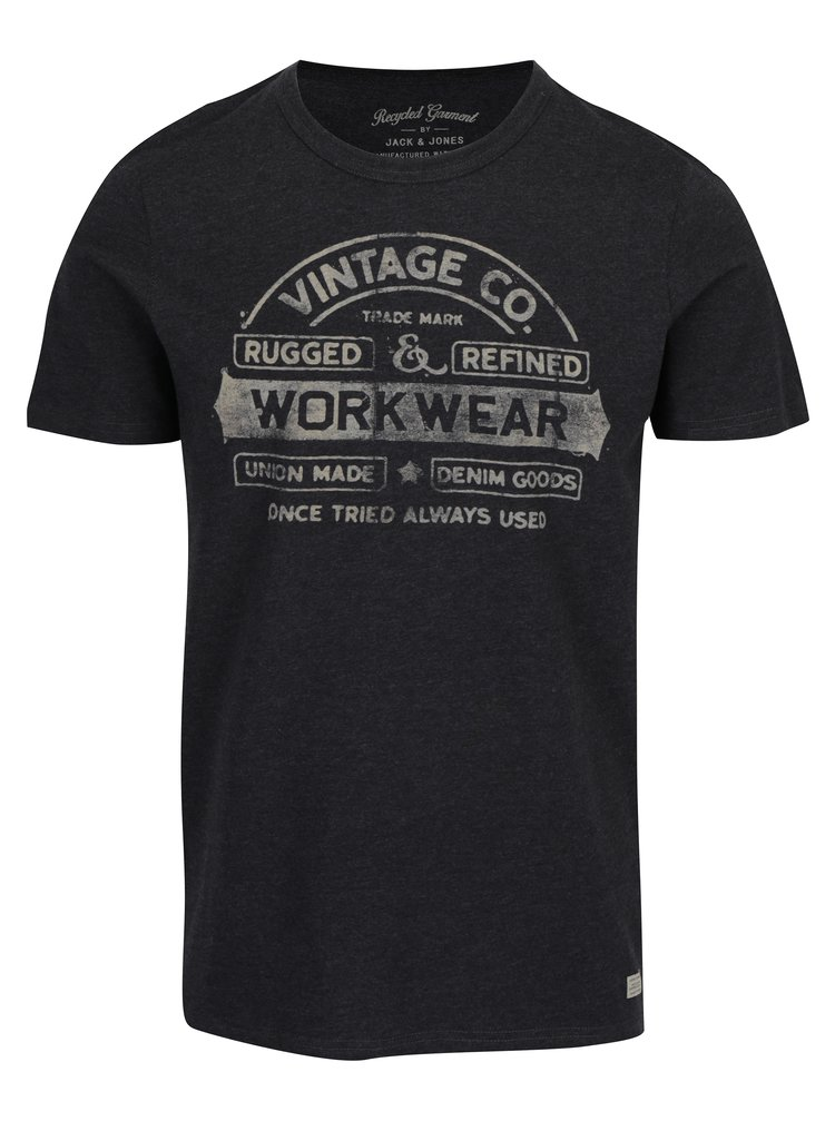 Tricou gri inchis cu print text Jack & Jones Vintage Recycle Adam