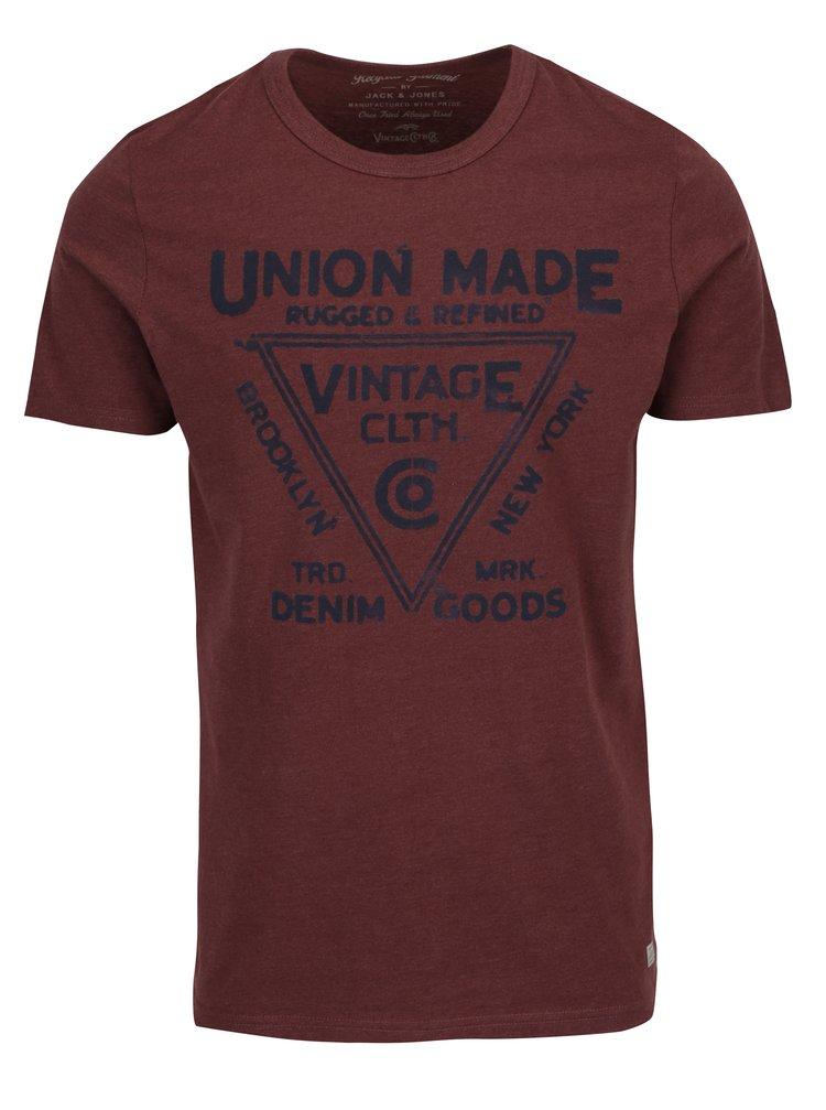 1abf35f3ef2a ... Vínové tričko s potlačou Jack   Jones Vintage Recycle Adam