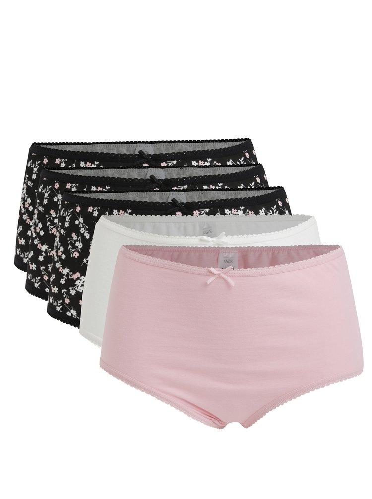 Set de 5 perechi de boxeri negru cu print floral, roz si alb M&Co