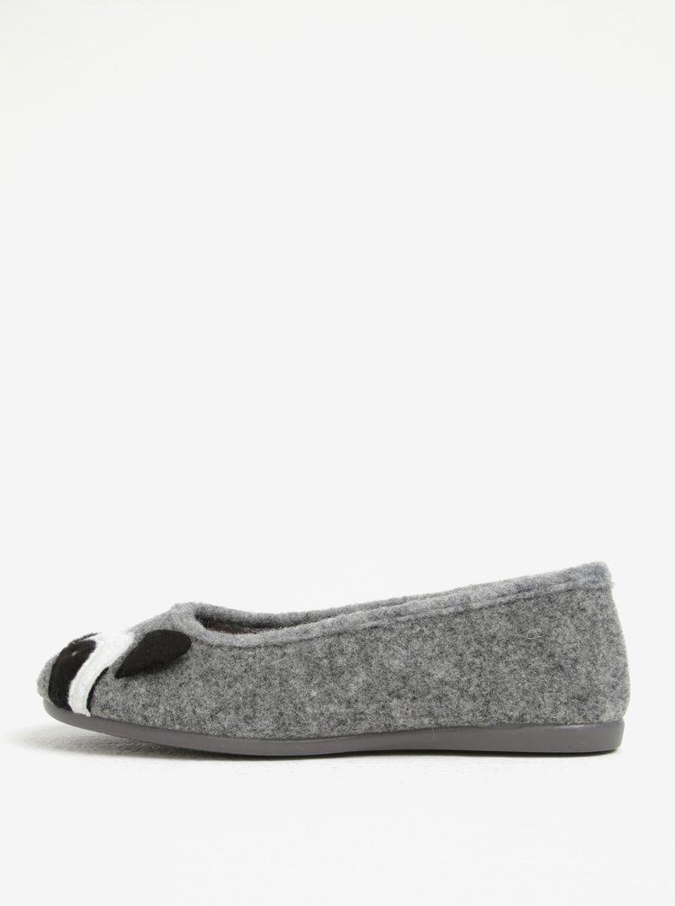 Šedé dámské papuče s motivem mývala OJJU
