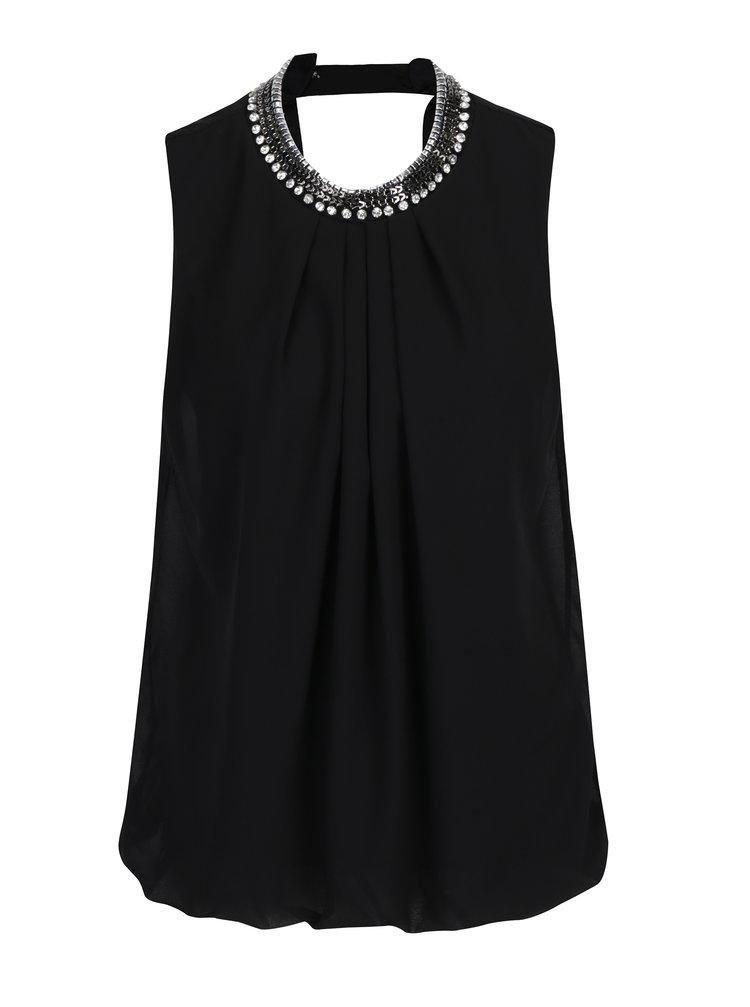 Bluza neagra fara maneci cu guler din aplicatii - Haily´s Laila