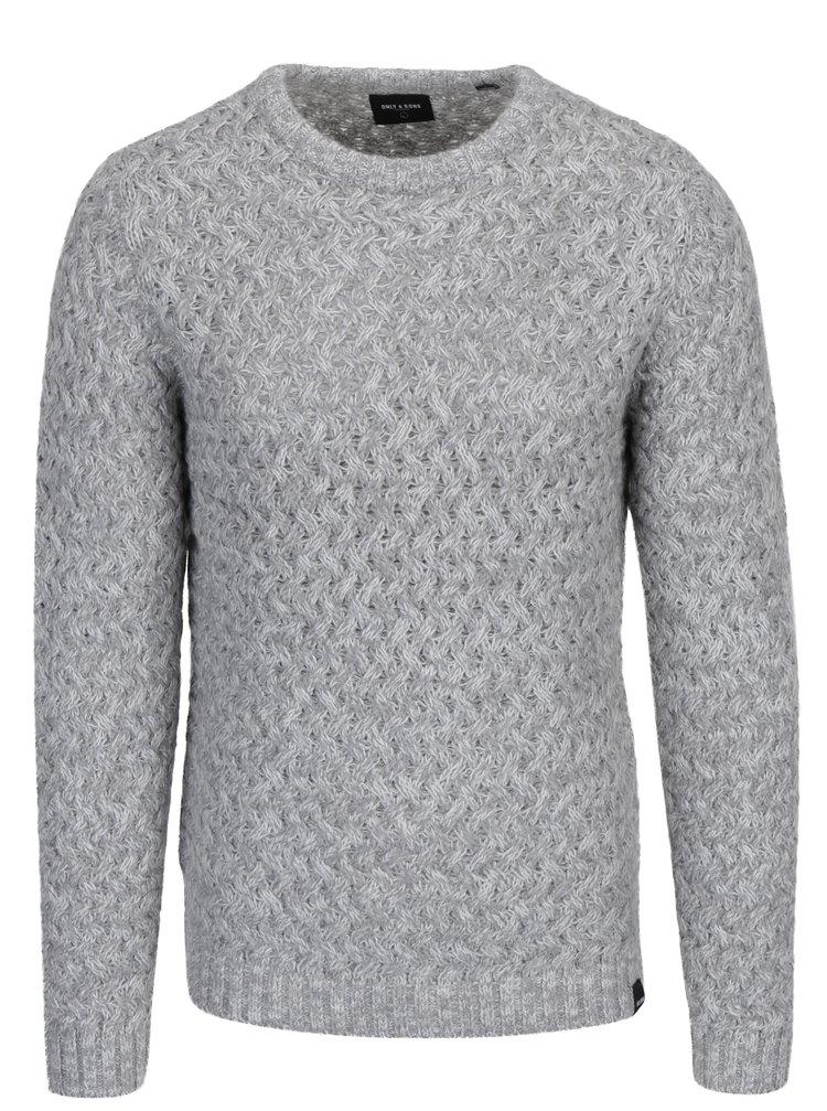 Šedý pletený svetr ONLY & SONS Odin