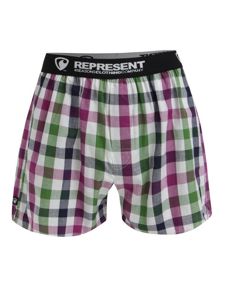Boxeri cu talie elastica si  carouri gri & verde - Represent Mikebox