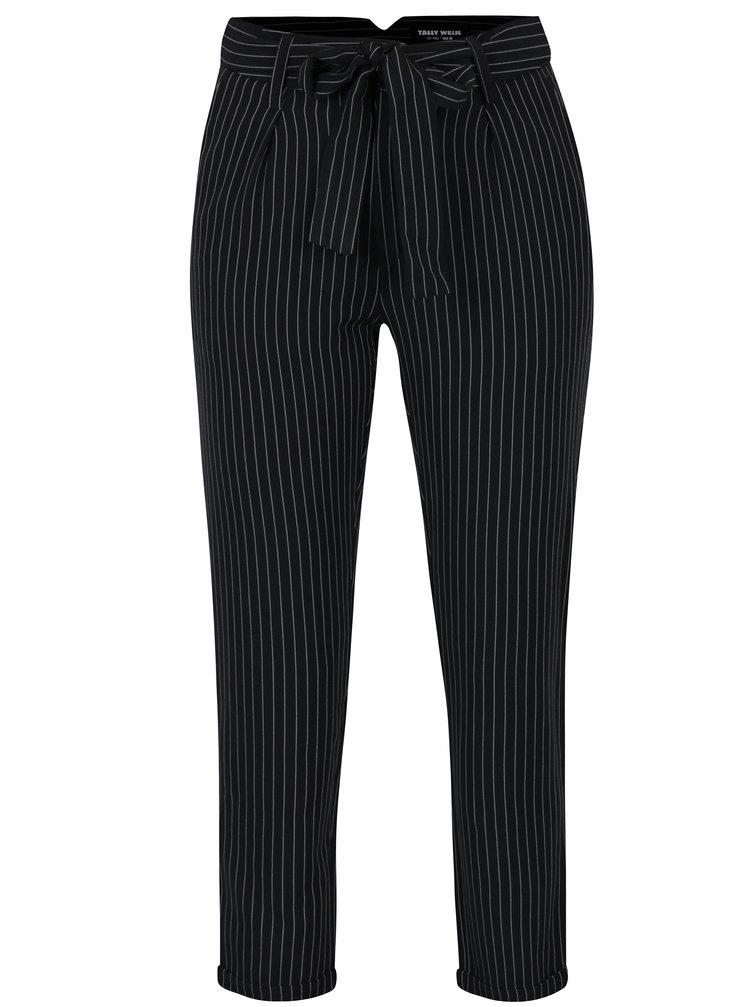 Pantaloni negri cu dungi si talie inalta cu cordon - TALLY WEiJL
