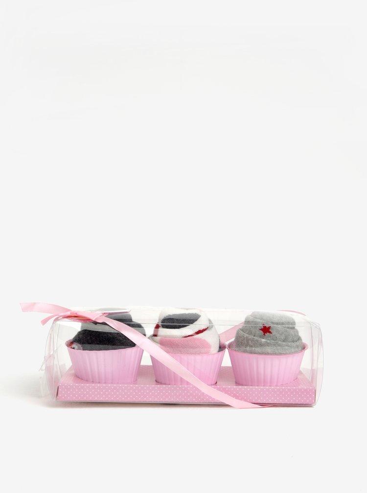 Set de trei perechi de sosete roz, crem si gri cu modele Dorothy Perkins