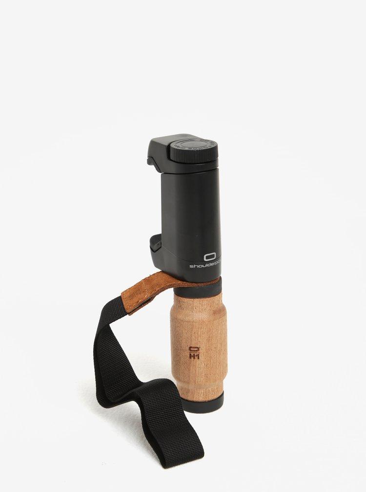 Čierny držiak na telefón s drevenou rukoväťou Shoulderpod S2