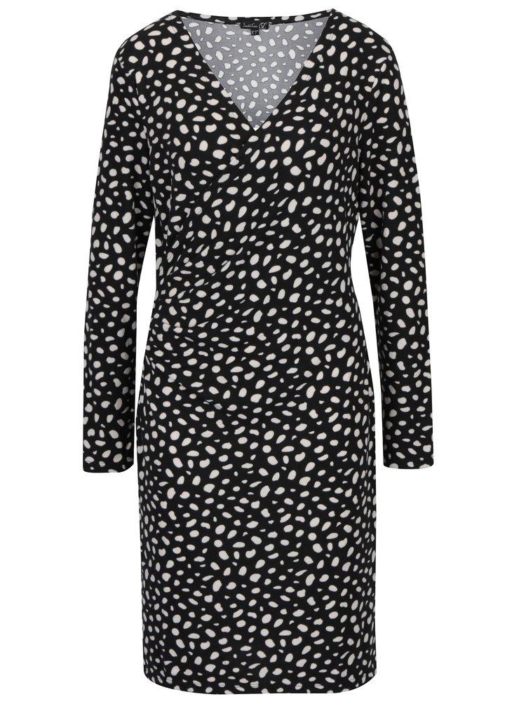 Černé puntíkované šaty s překládaným výstřihem Smashed Lemon