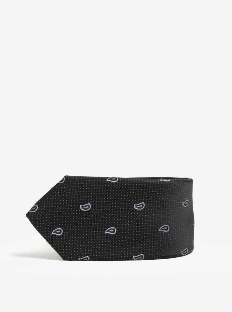 Černá vzorovaná kravata Selected Homme Xin Tie