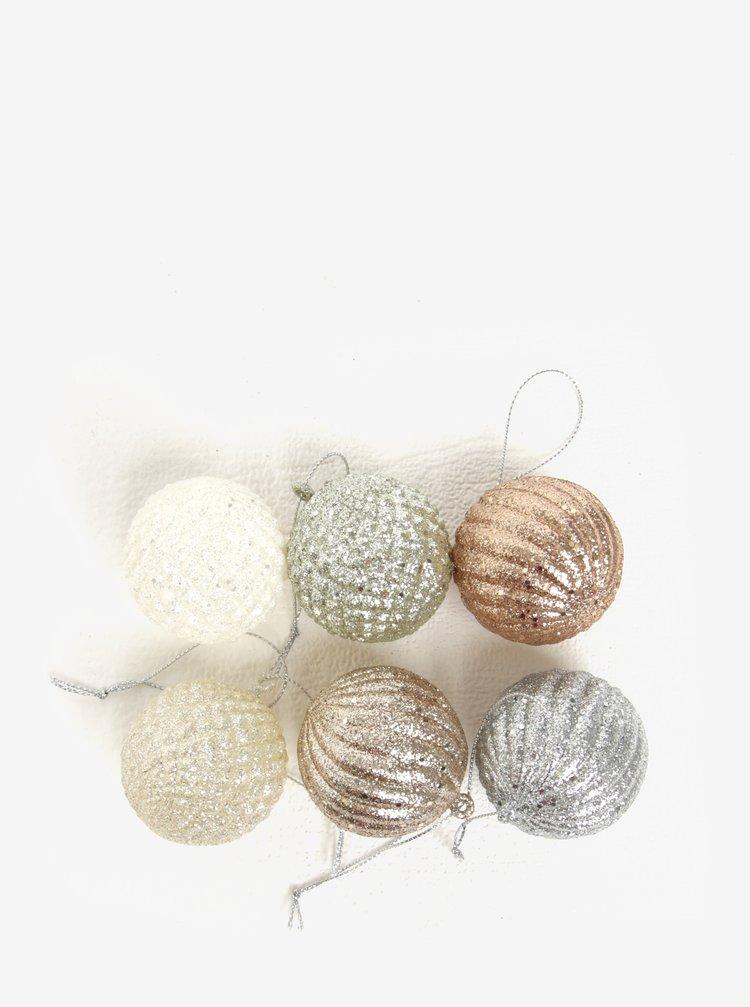 Sada vánočních třpytivých ozdob ve stříbrné barvě Kaemingk