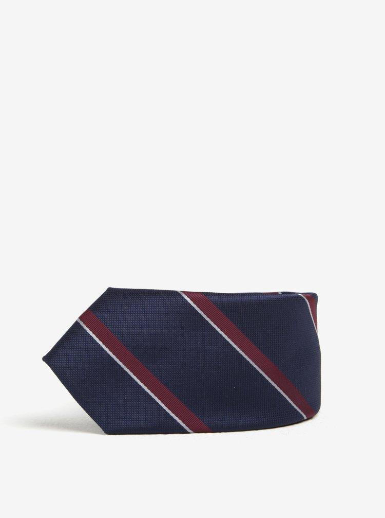 Cravata bleumarin & bordo cu model in dungi - Selected Homme Xavier