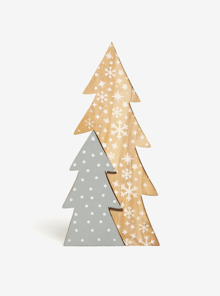 Šedo-hnědá vánoční dekorace ve tvaru stromku Kaemingk
