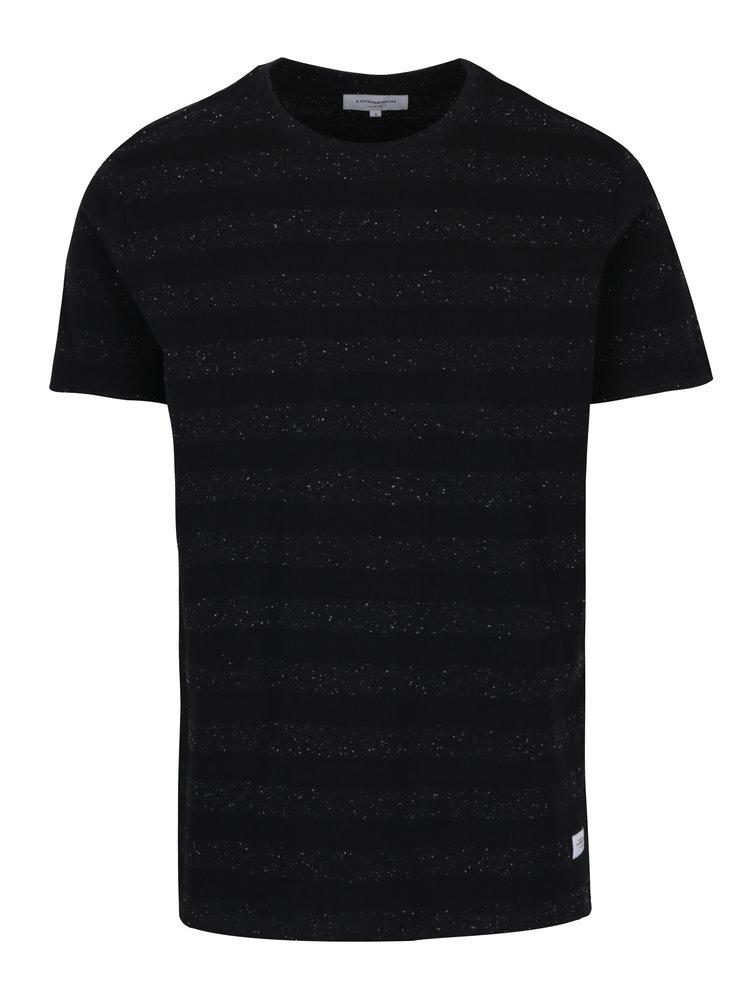 Tricou negru din bumbac cu dungi - Lindbergh