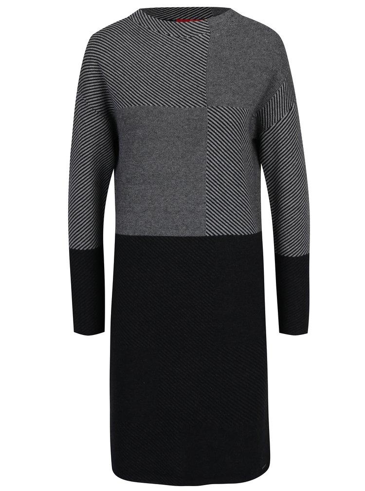 Šedé vzorované svetrové šaty s dlouhým rukávem s.Oliver