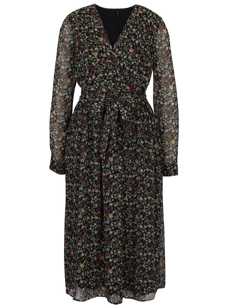 Černé květované šaty s překládaným výstřihem VERO MODA Venice