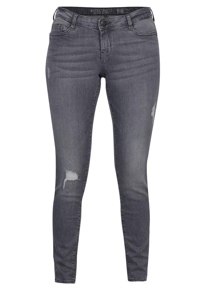 Světle šedé džíny s potrhaným efektem Noisy May Eve