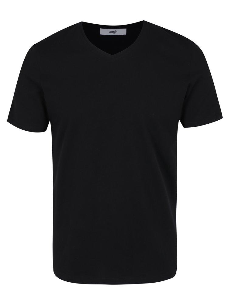 Tricou basic negru cu decolteu anchior pentru barbati Zagh