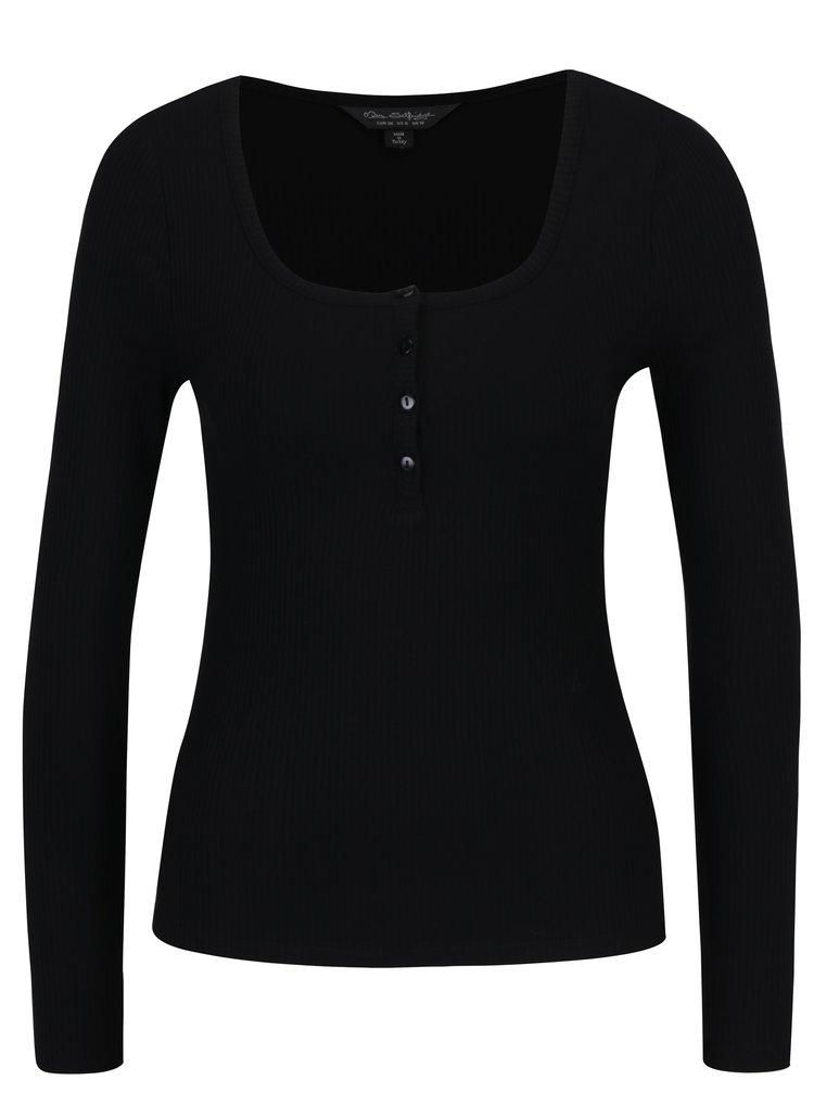 Černé tričko s knoflíky Miss Selfridge