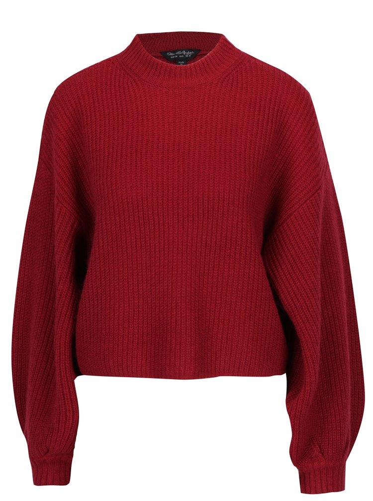 Vínový krátký svetr s příměsí vlny a balonovými rukávy Miss Selfridge