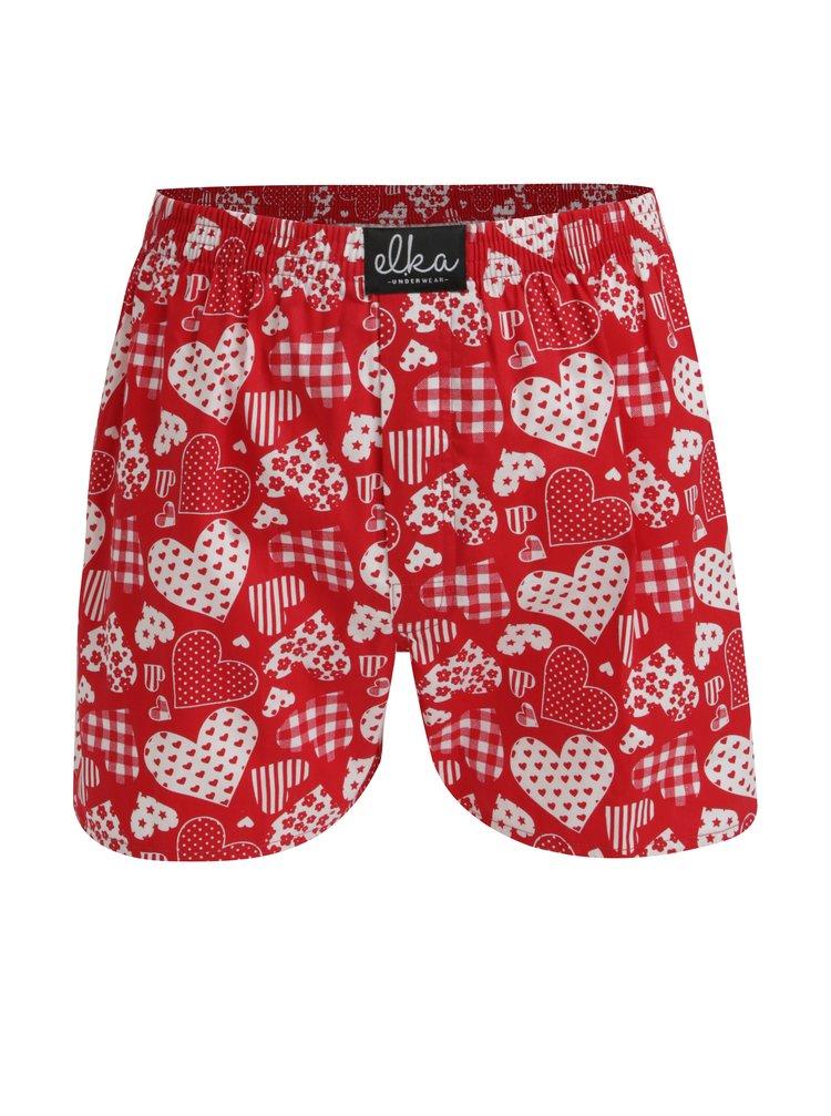 Boxeri rosii din bumbac cu print inimi pentru barbati - El.Ka Underwear