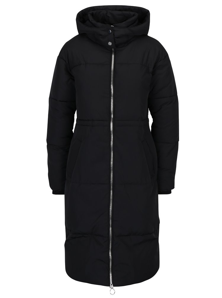 Černý dlouhý prošívaný zimní kabát Miss Selfridge