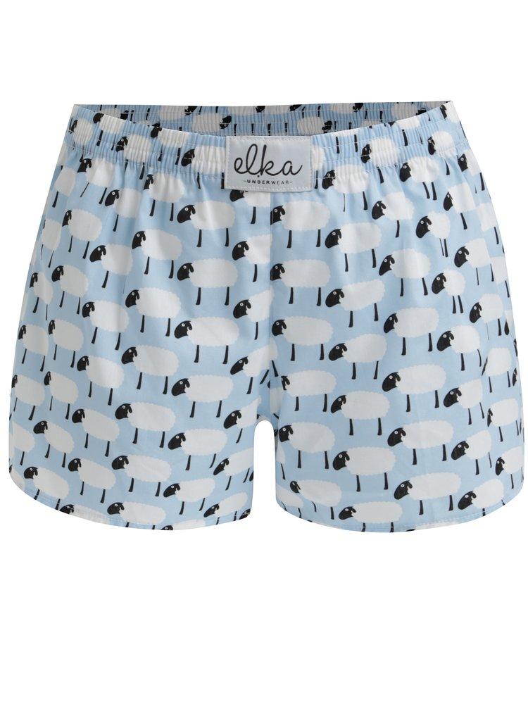 Boxeri bleu cu print oite pentru femei - El.Ka Underwear