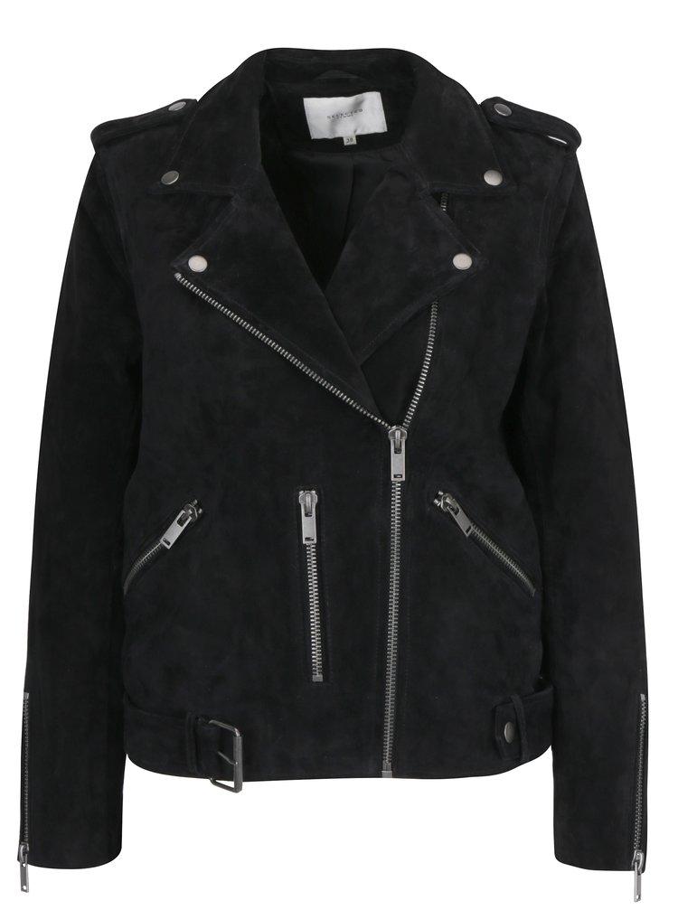 Jacheta biker neagra din piele intoarsa pentru femei Selected Femme Sanella