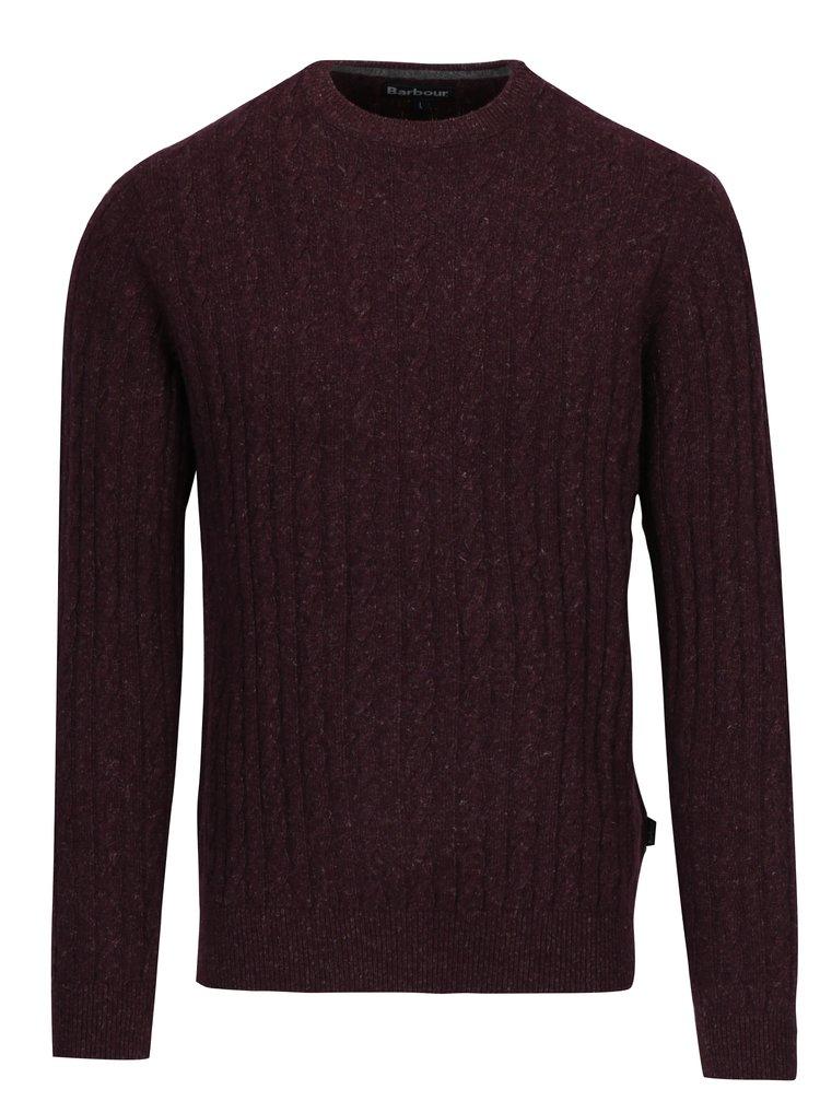 Vínový žíhaný vlněný svetr s příměsí lnu Barbour Essential Cable