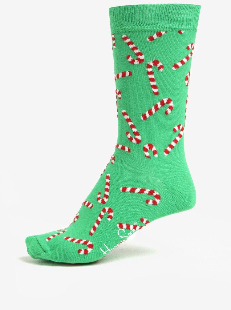 Sosete unisex verzi cu print cu acadele - Happy Socks