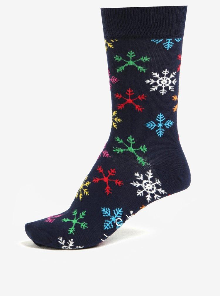Sosete unisex bleumarin cu fulgi de zapada - Happy Socks
