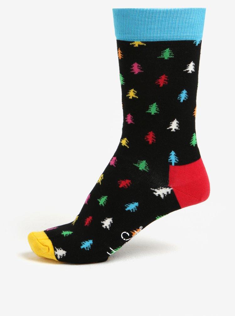 Černé unisex ponožky s vánočním motivem Happy Socks