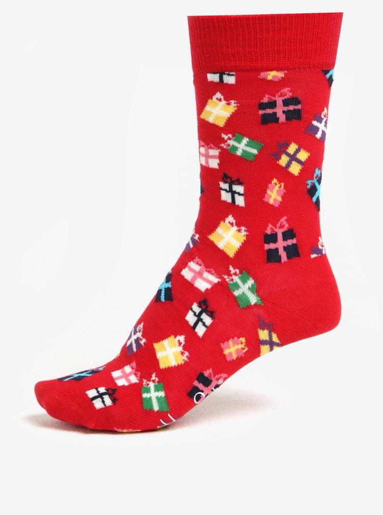 Červené unisex ponožky s vánočním motivem Happy Socks