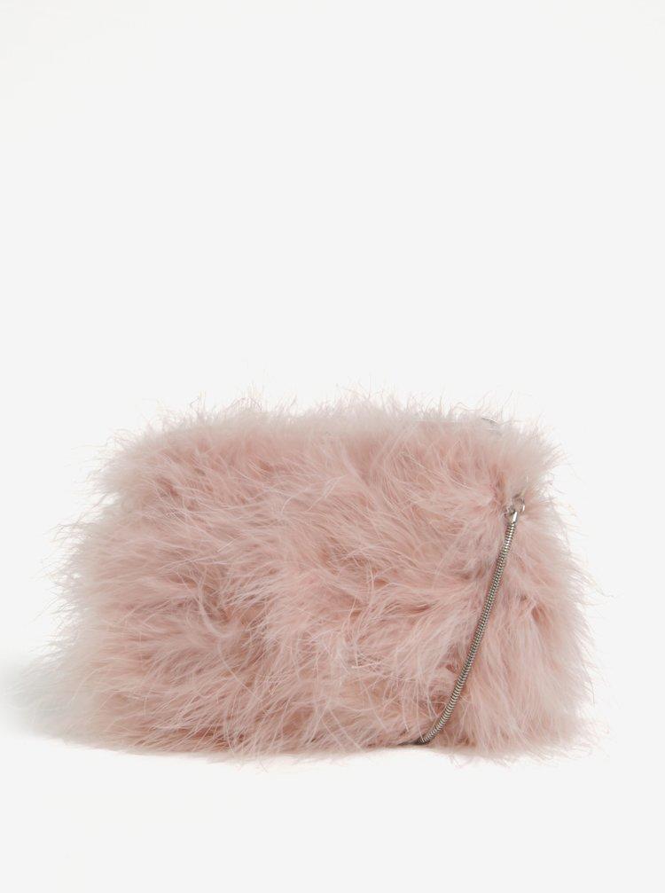 Růžová crossbody kabelka s peřím Miss Selfridge