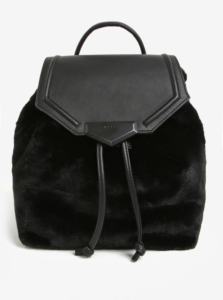 Rucsac negru cu blana artificiala si aspect de piele -  ALDO Gazzone