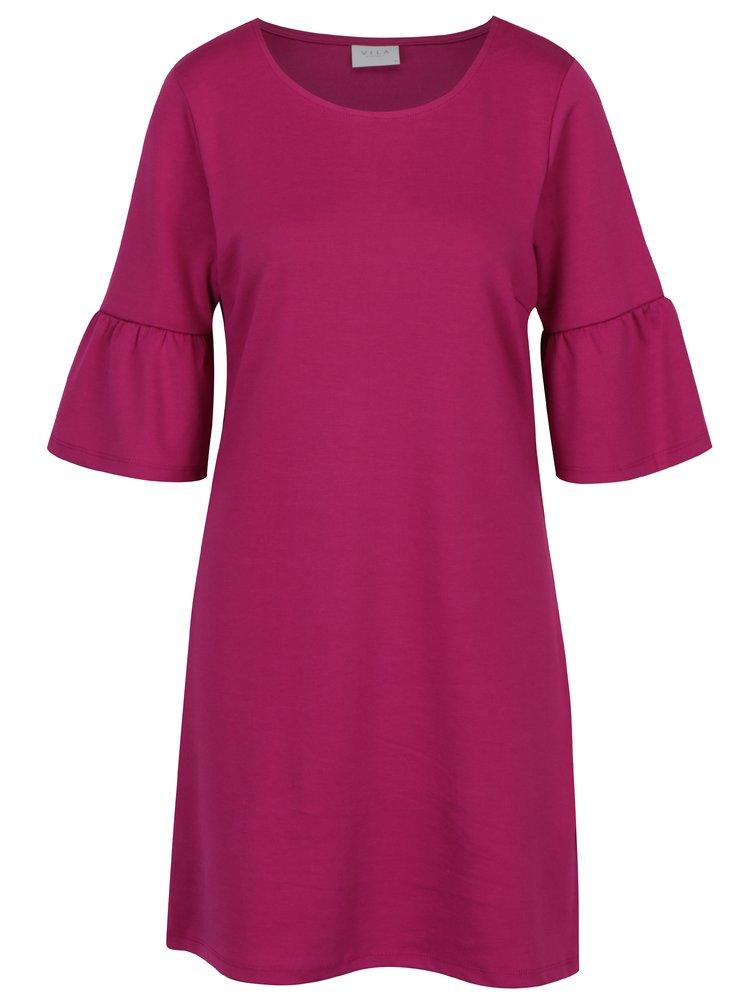 Růžové šaty s volány na rukávech VILA Tinn