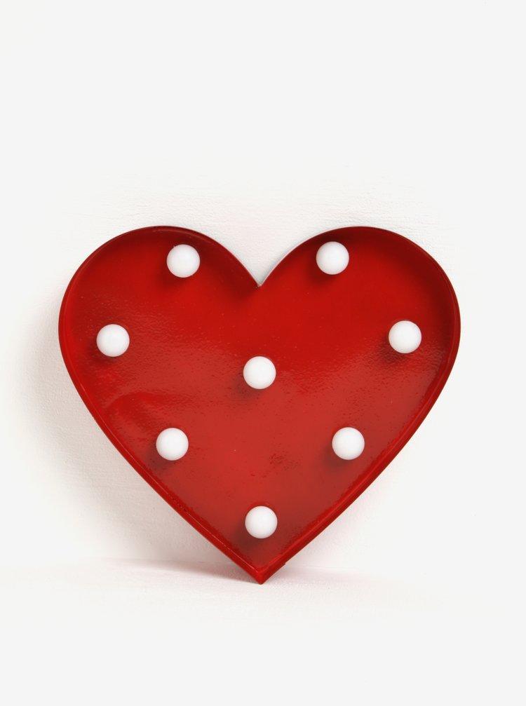 Decoratiune rosie in forma de inima cu LEDuri - Sass & Belle