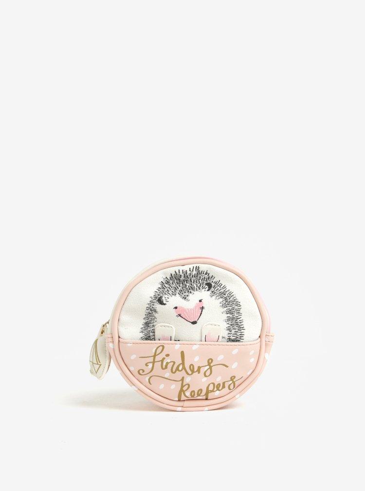 Krémovo-růžová kosmetická taštička Disaster Over the Moon Hedgehog
