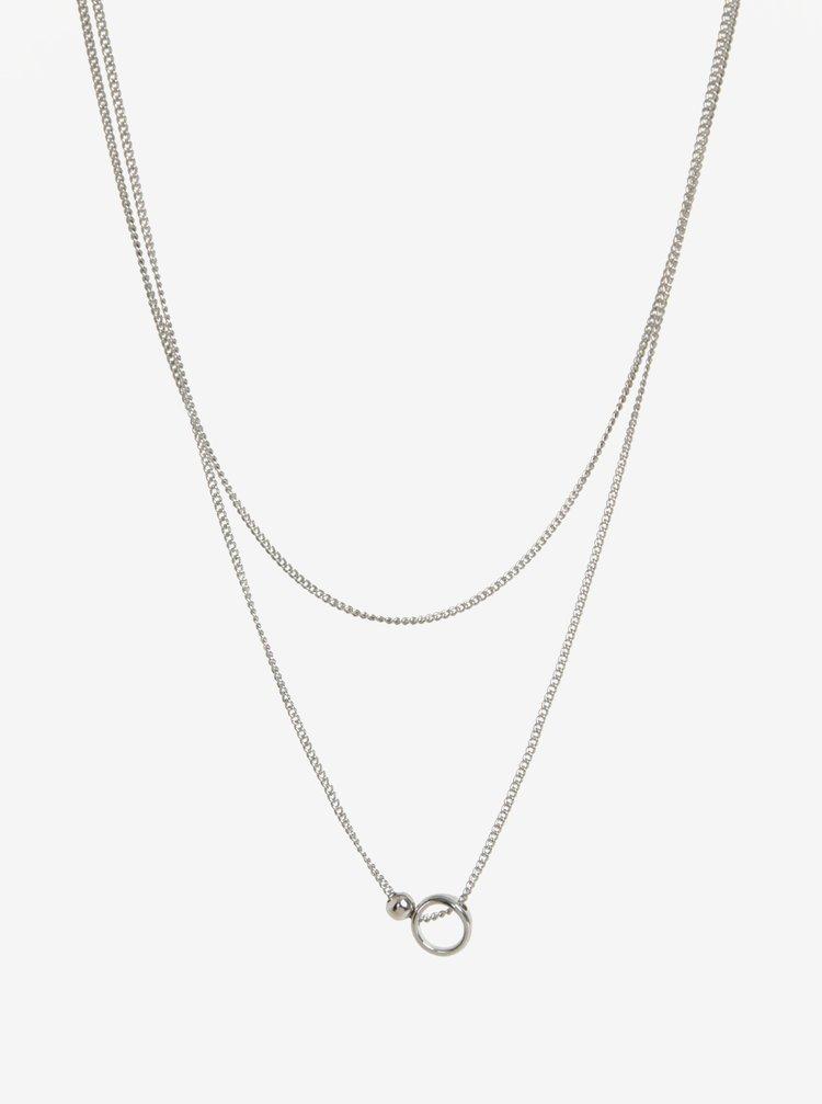 Colier argintiu cu lant dublu si pandantiv - Pieces Auluna