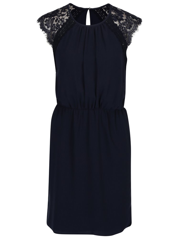Tmavě modré šaty s krajkou VERO MODA Nadenka