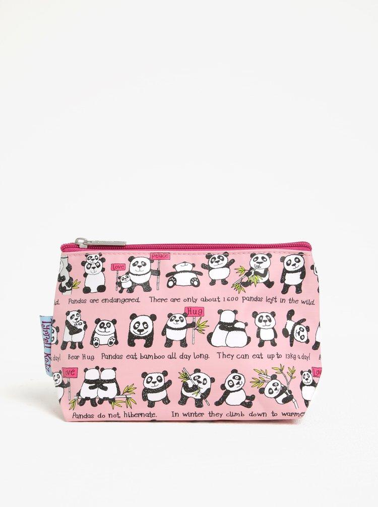 Světle růžová holčičí toaletní taštička Tyrrell Katz Pandas